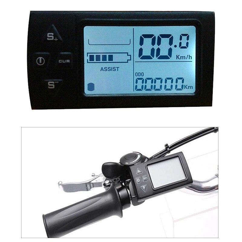 Pantalla LCD de bicicleta eléctrica EBike 36V 48V Pantalla de Panel de Control para controlador de accesorios de bicicleta eléctrica eBike velocímetro