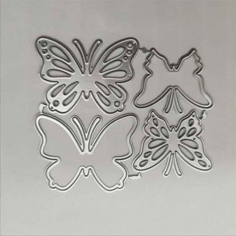 4 шт./лот металлические Вырубные штампы в виде бабочек, «сделай сам», трафареты для карт, фотоальбомов, тиснение, изготовление бумаги, скрапб...