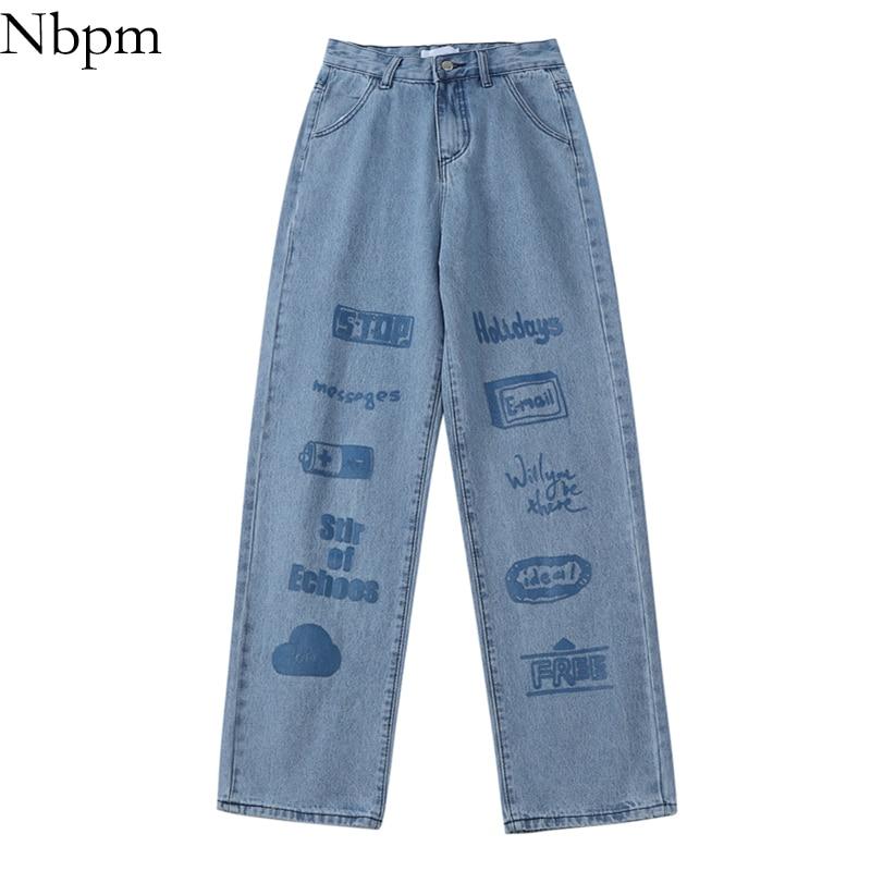 Nbpm New 2021 Fashion Print Wide Leg Jeans Woman High Waist Baggy Jeans Girls Streetwear Loose Botto