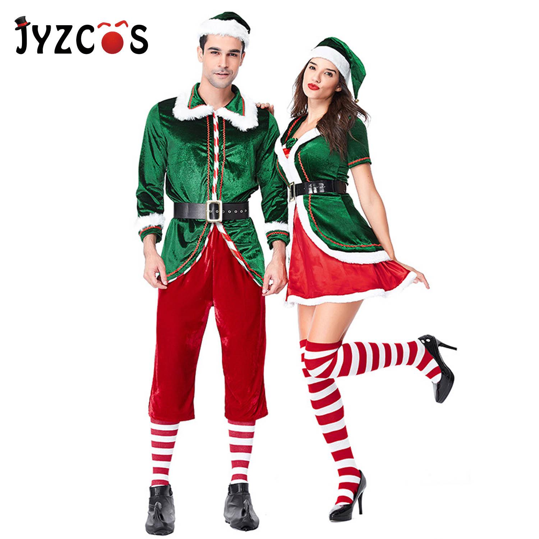 Jyzcos Feminino Masculino Menino Menina Natal Papai Noel Traje Crianças Adultos Família Verde Elf Cosplay Trajes Carnaval Festa Suprimentos