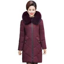 2020 Real Fox Fur Collar Winter Coat Women Long Parkas Solid Thicken Warm Winter Down Jacket Women Long Coat Plus Size 5XL