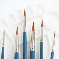 6pcs Art Brush Pen Oil Watercolor Brushes Gouache Painting Comic Line Fine Paint Brush Weasel Hair Painting Brushes Art Supplies