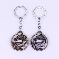 game mortal kombat keychain fashion vintage charm dragon totem alloy key ring holder gift for men car key accessories