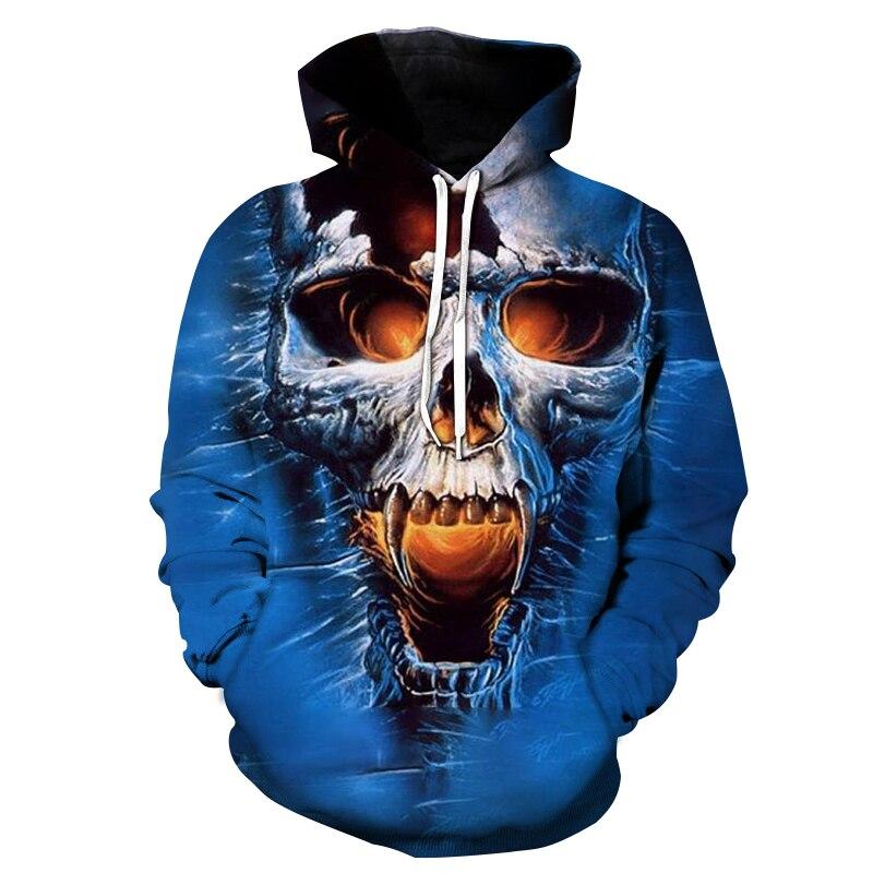 Skull Print Hoodies Men Loose Long Sleeve Jumper Pullovers Autumn Winter Casual Sweatshirt Tops Plus Size Hoodie Men Streetwear
