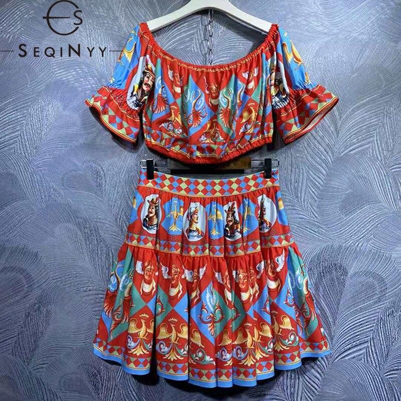 SEQINYY مثير دعوى الصيف الربيع موضة جديدة تصميم المرأة المدرج خمر طباعة قبالة الكتف المحاصيل توب + تنورة صغيرة 2 قطع مجموعة