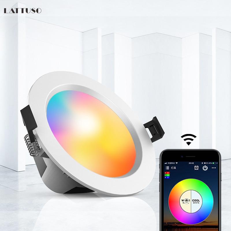 Downlight LED intelligent gradation lumière de tache ronde 5W 9W rvb couleur changeante lumière froide chaude Bluetooth APP contrôle lumière intelligente