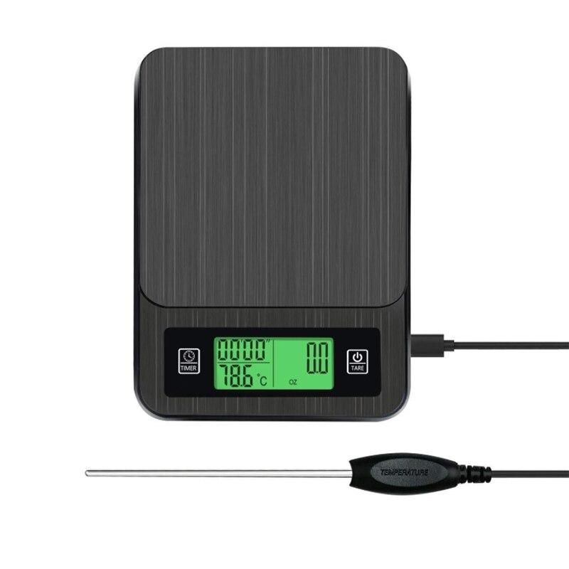 مقياس القهوة الرقمية متعددة الوظائف المطبخ ميزان المطبخ مع الموقت درجة الحرارة التحقيق شاشة الكريستال السائل الأخضر الخلفية 3000 جرام/1 جرام