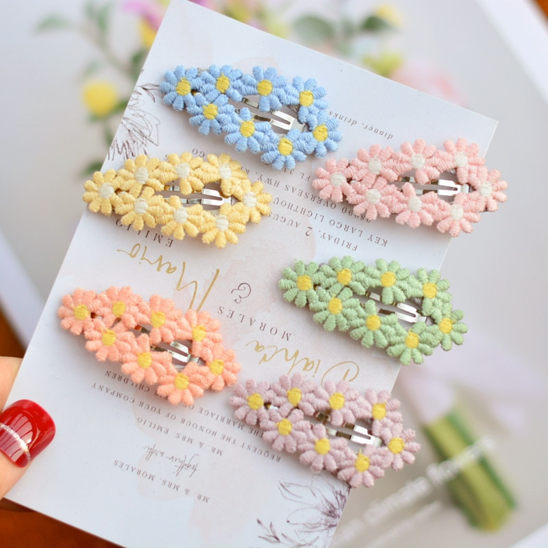 AliExpress - 6pcs/Bag Flower Wrapped Snap Hair Clips for Toddlers Girls Cute Fresh 5CM Daisy Hairpin Kids Children Hair Accessories Ornament