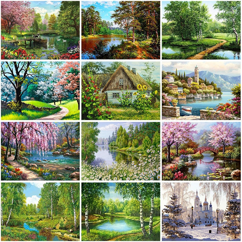 Villa Scenery DIY 5D Diamond Painting Full Round Resin Mosaic Landscape Diamond Embroidery Picture Rhinestone Home Decor Gift