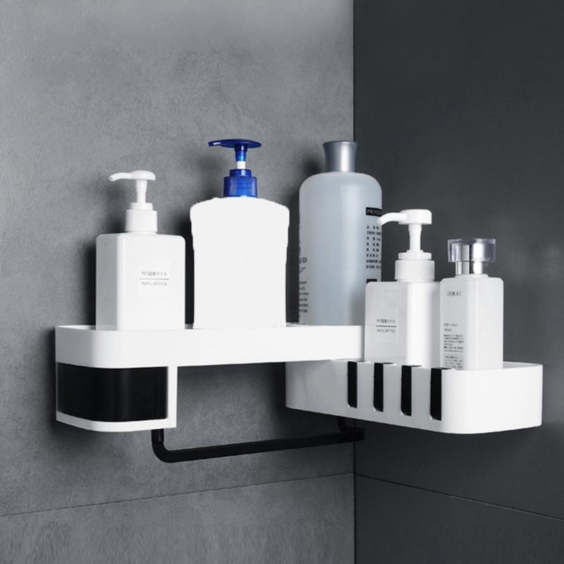 Ajustável banheiro rack de armazenamento à prova dwaterproof água wc armazenamento para abs canto uma prateleira parede branca adesivo para prateleiras do banheiro