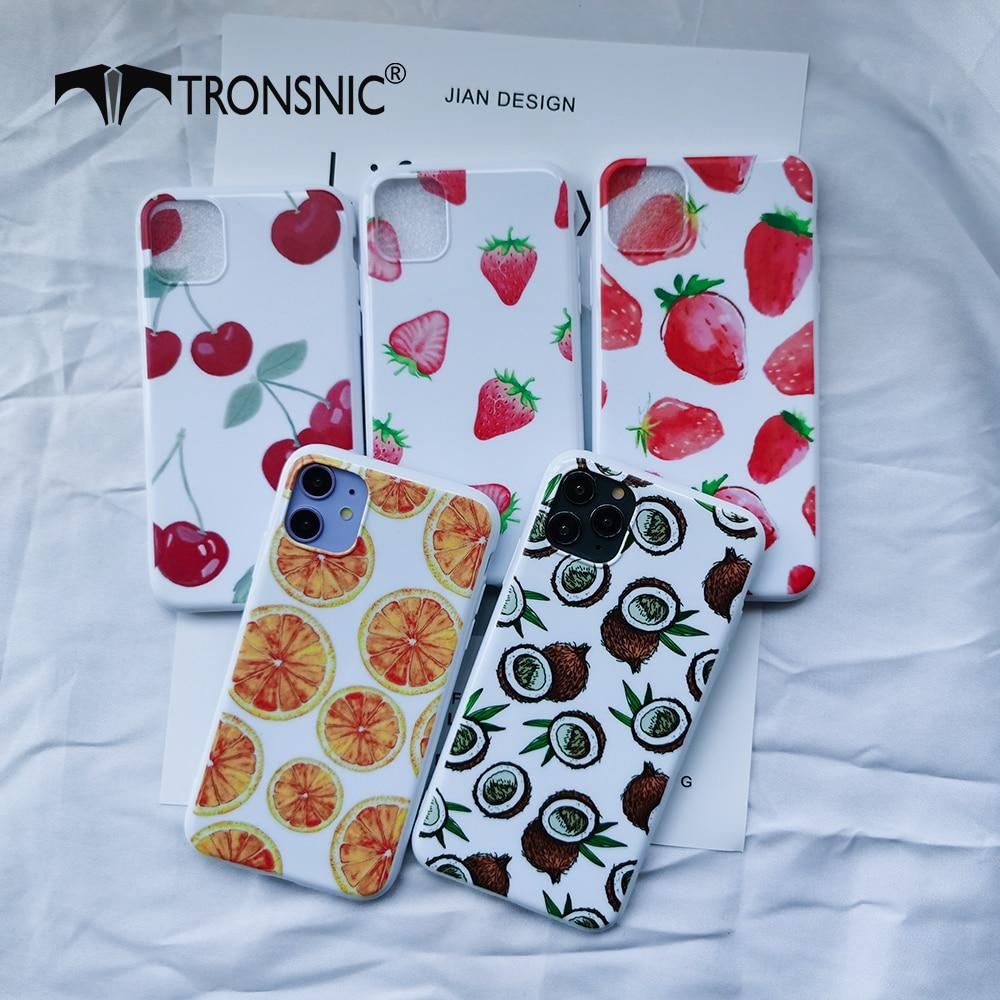 Capa de telefone para iphone 11 pro max xr xs max branco brilhante cereja morango casos para iphone 7 8 se mais capa