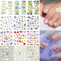 12pcs love letter slider for nail art decorations sticker water transfer decal flower leaves girl manicure diy flower stickers