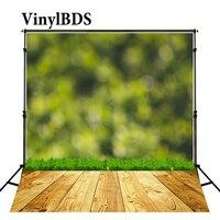 VinylBDS Background Green Grass Backdrops Bokeh Wall Backdrop Wooden Floor Backdrop Photography Background Kids Studio
