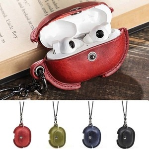Real Leather Case for Freebuds Pro Shockproof Protective Cover with Necklace Support Wireless/Wired Charging for Freebuds Pro