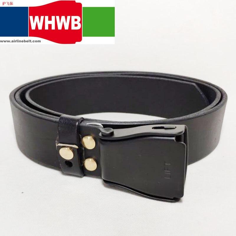 Negro 2019 moda novedosa hombres y mujeres cinturones de cuero metal aluminio PIN de avión cinturón con hebilla pretina para viaje de avión