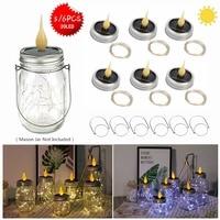 6 PCS Solar Mason Jar Lid Insert LED 20 Leds Mason Jar Solar Mini String Light for Glass Mason