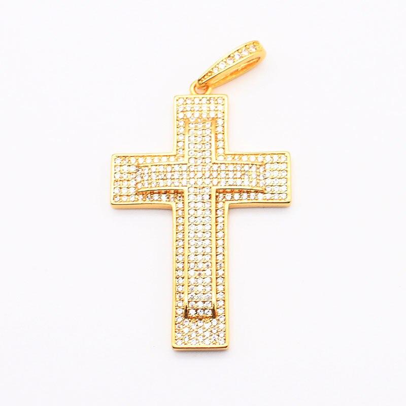 Cruz banhado a ouro com pingente cz