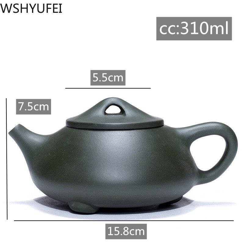 Tetera WSHYUFEI auténtica de arcilla púrpura Yixing, tetera Original hecha a mano famosa, tetera de piedra Barro Verde minero, tetera china de 310ml