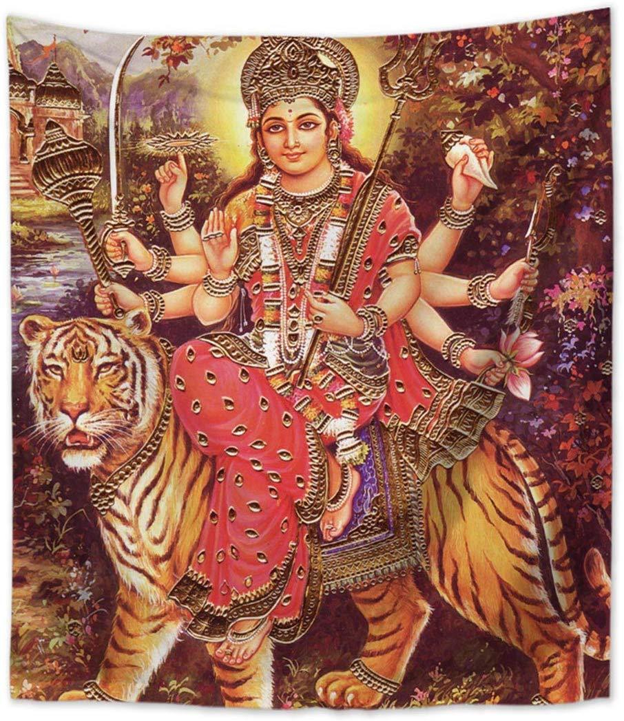 Tapiz colgante de pared con tigre de la diosa Durga, ventana, decoración del hogar y país