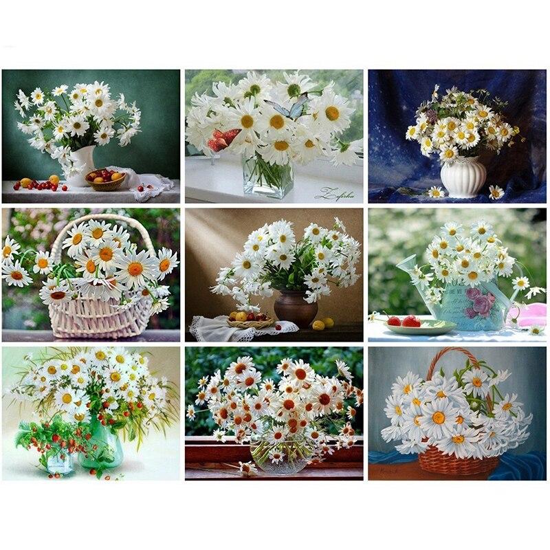 Pintura de orquídeas de diamantes 5D con bordado de flores y diamantes para decoración del hogar