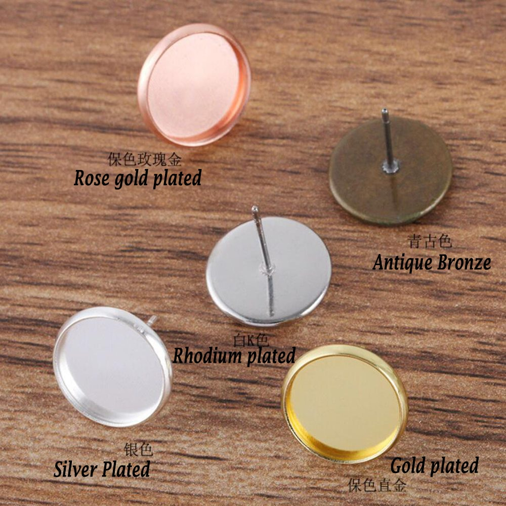 1000pcs Stud Earring Pin 8 10 12 14 16mm Round Bezel Blank Earring Base Earring Settings for Cabochon Jewelry DIY
