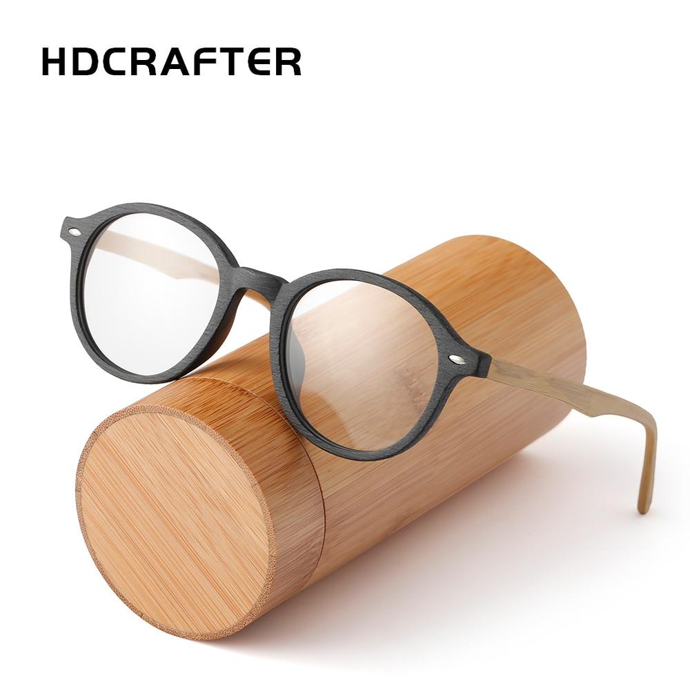 الرجعية الخشب مستديرة النظارات الإطار الرجال النساء قصر النظر البصرية النظارات وصفة طبية النظارات مع العدسات واضحة العين إطارات النظارات