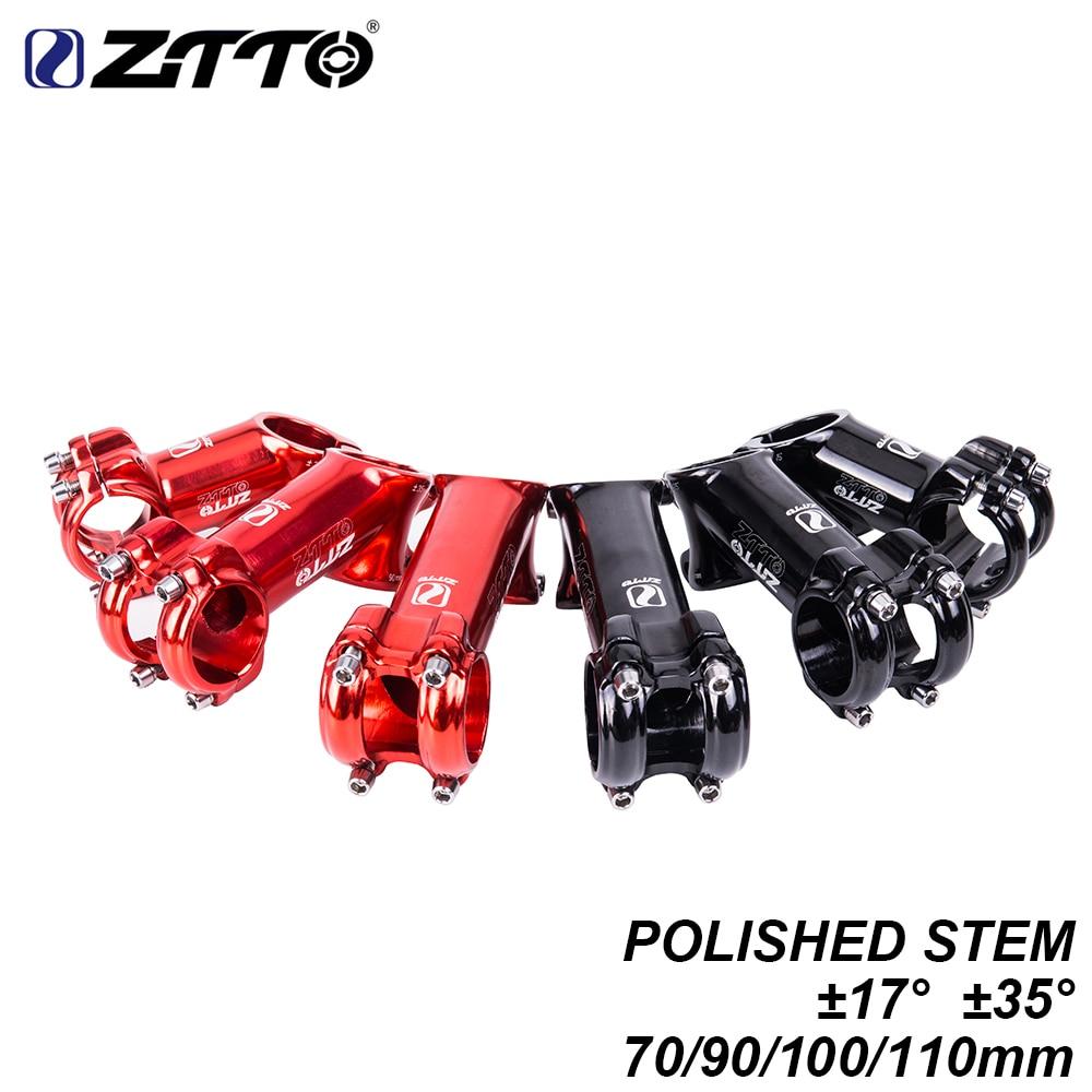 ZTTO MTB Polished Bicycle Handlebar Stem 70 90 100 110mm ±17° 35 degree Glossy for 31.8mm XC AM Mountain Road Bike Stem