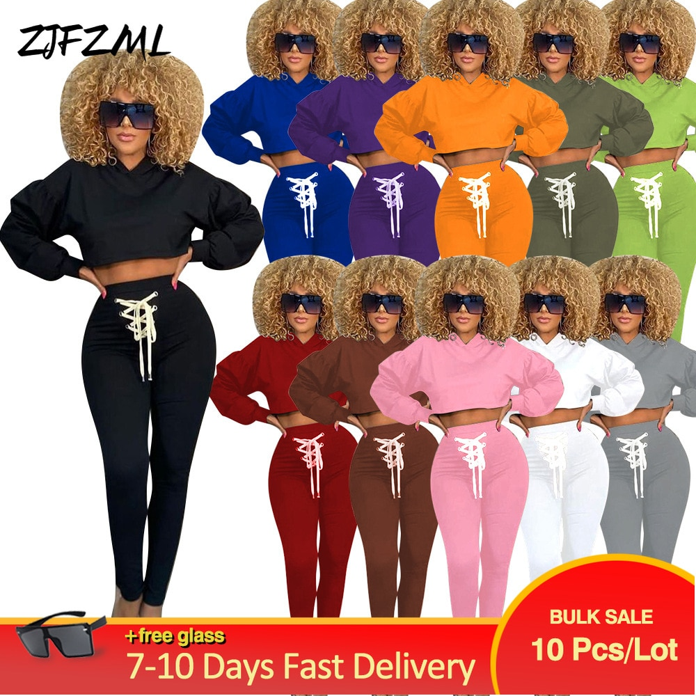 ملابس نسائية ذات أكمام كاملة بقلنسوة + أربطة وأربطة للجري وبنطلون للبيع بالجملة بكميات كبيرة