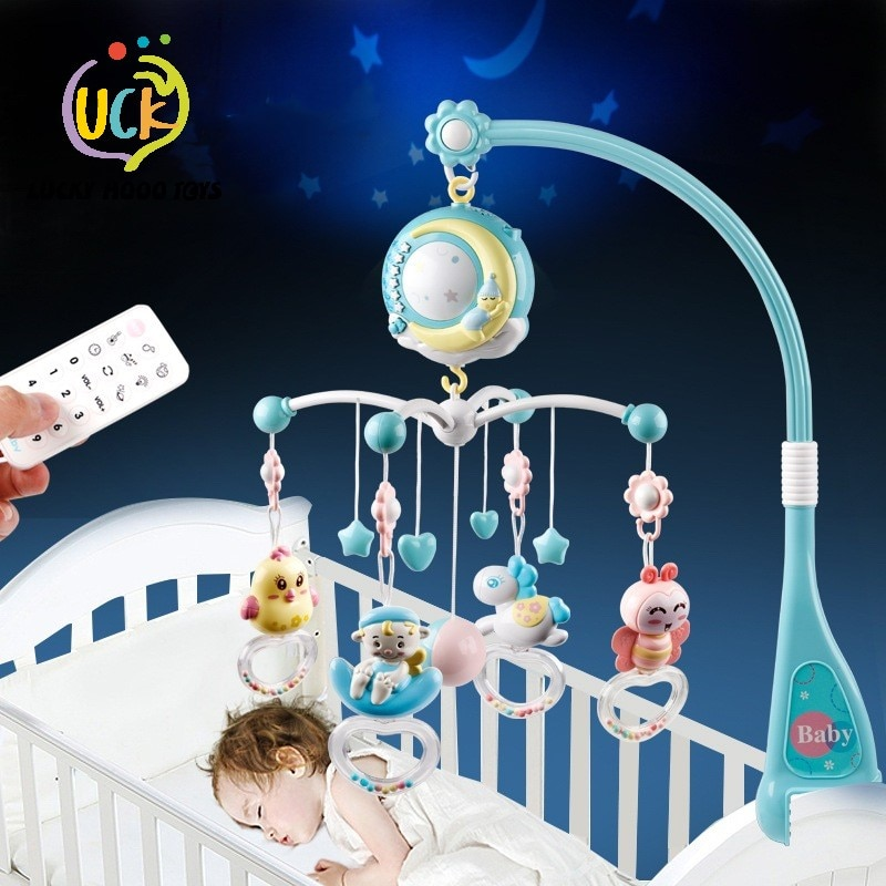 baby toys white rattles bracket set baby crib mobile bed bell toy holder arm bracket wind up music box drop shipping Baby Rattles Crib Mobiles Toy Holder Rotating Mobile Bed Bell Musical Box Projection 0-12 Months Newborn Infant Baby Toys