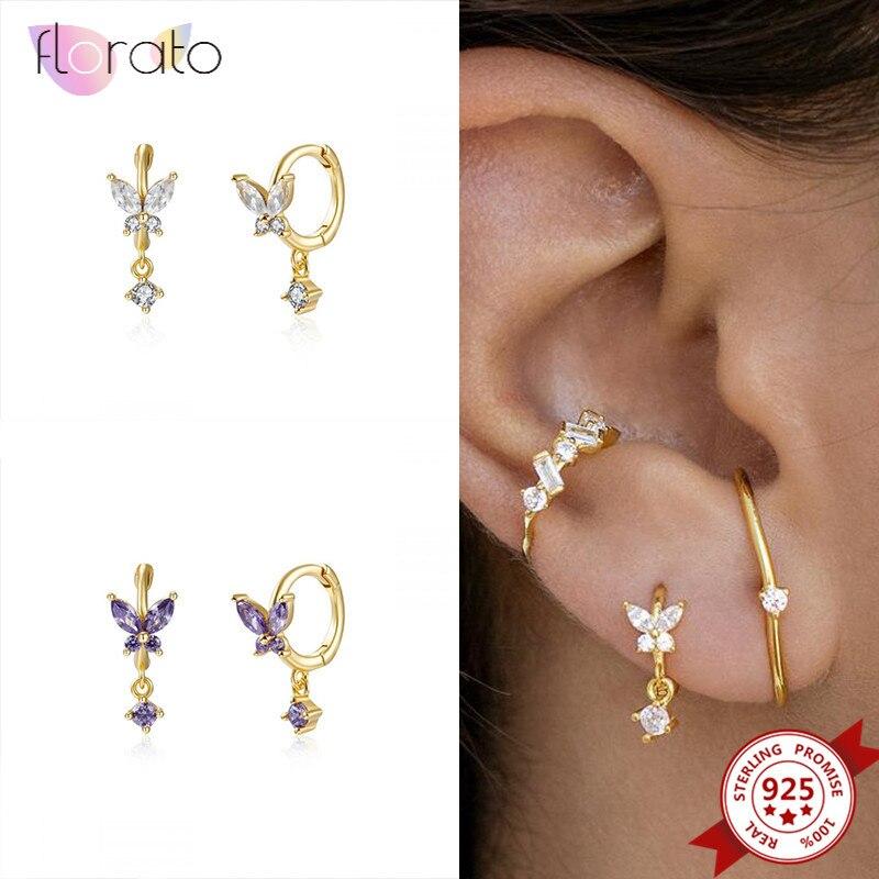 925 Sterling Silver Butterfly Hoop Earrings for Women Romantic Purple Crystal Drop Huggie Earrings Tassel Pendant Earrings Gifts недорого