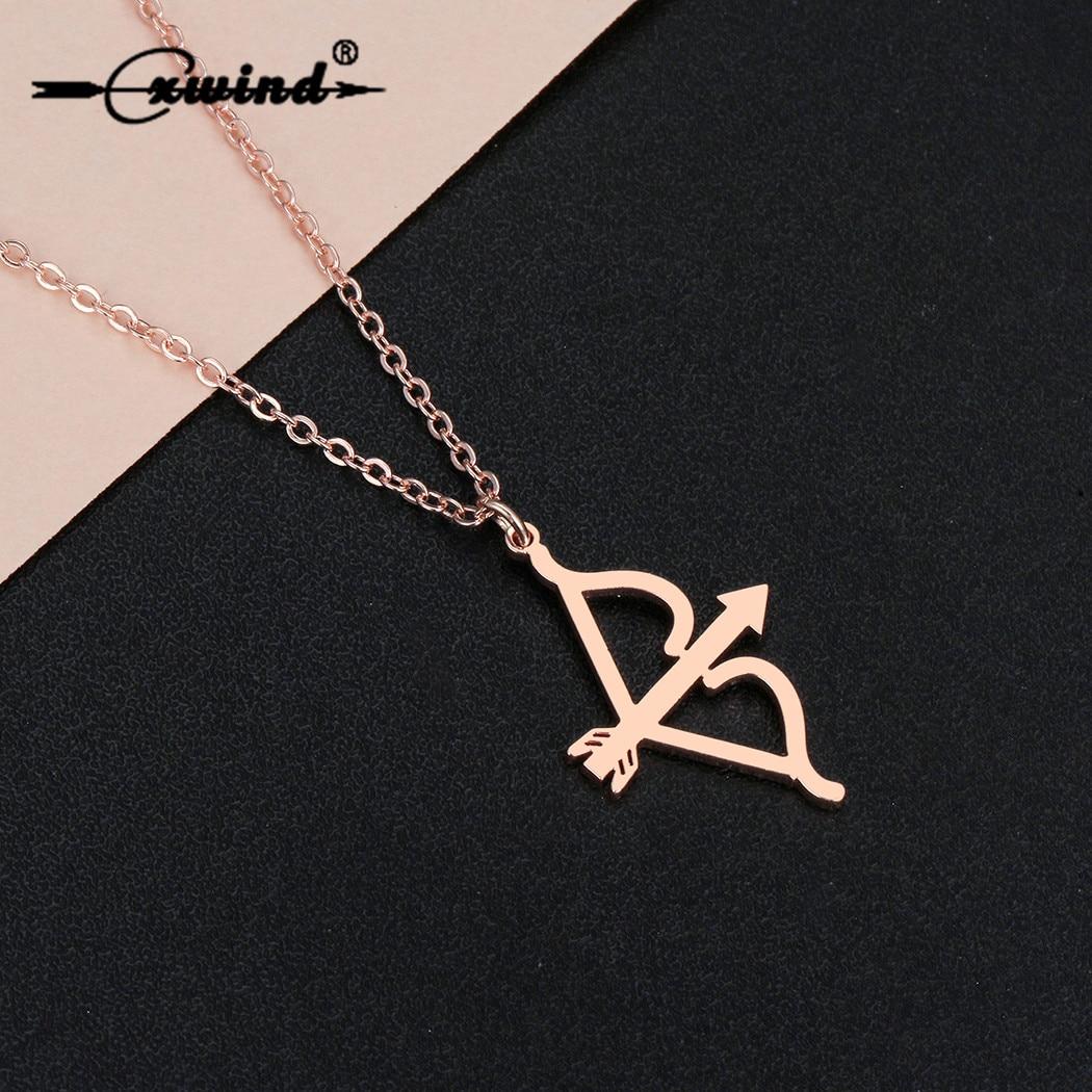 Cxwind moda COLLAR COLGANTE de oro Cupido arco y flecha Katniss tiro con arco encanto collar de cadena para mujeres niñas Simple gargantilla delicada
