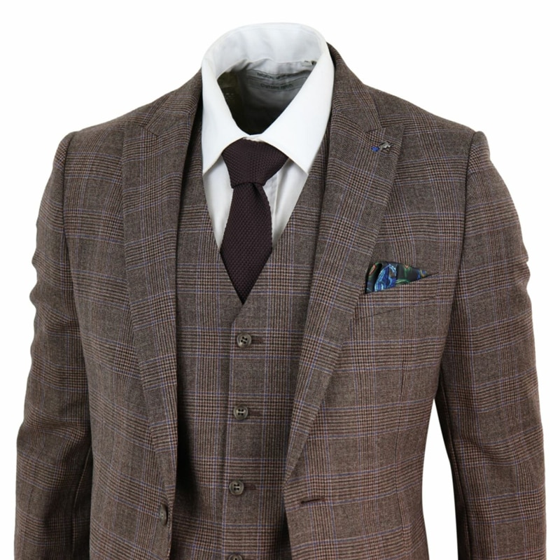Harry Brown Mens Suits Pure Wool Blend 3 Piece Check Suit Tan Brown Prince Of Wales Wine Slim Fit Costume Homme