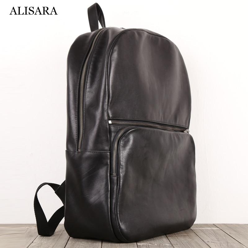 Alisara حقائب الظهر الرجال الطبقة الأولى جلد البقر عالية الجودة الذكور محمول حزمة سعة كبيرة السفر المنظم حقيبة عادية Daypack
