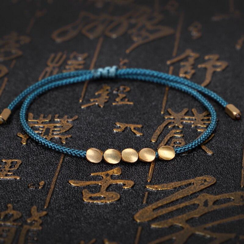 Hecho a mano el budismo tibetano cuentas de cobre para pulseras mujeres suerte cuerda amistad pulseras y brazaletes para parejas hilo de cera joyería de la muñeca