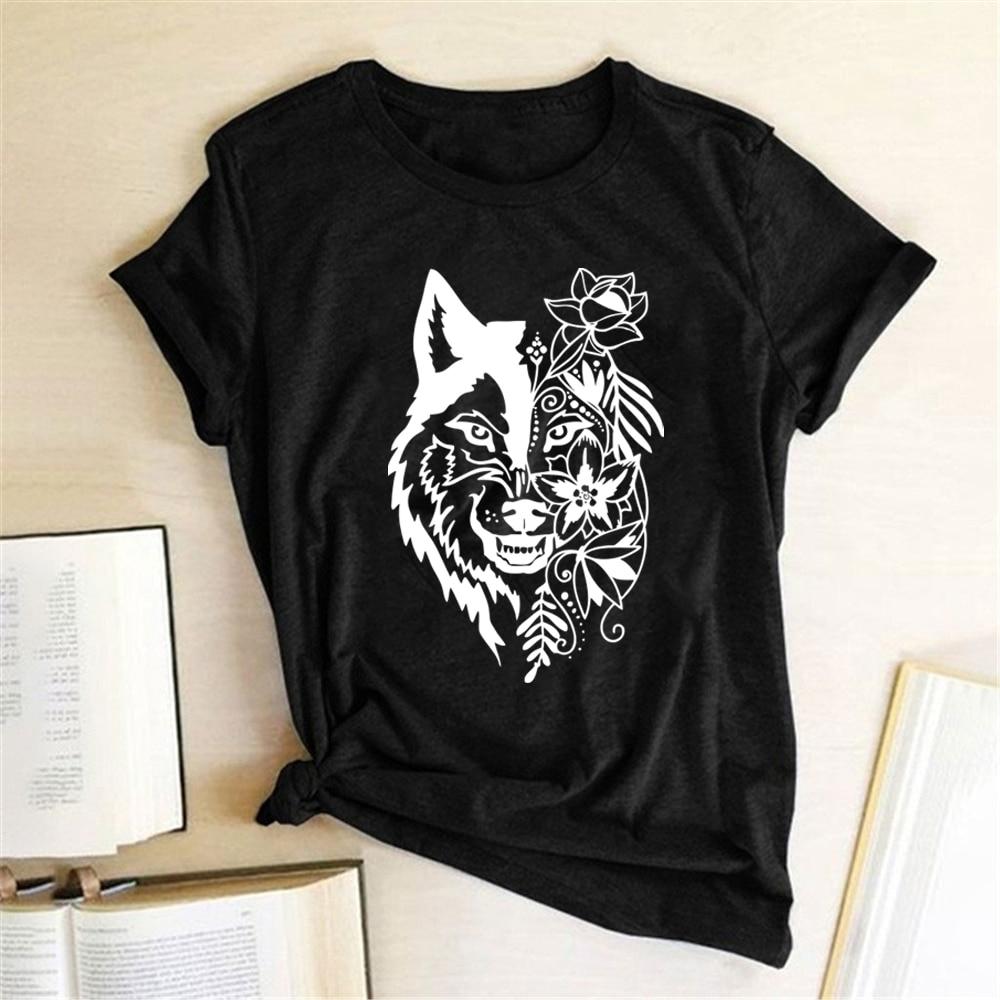 Camisetas estampadas con flores de lobo para Mujer, ropa de calle para...