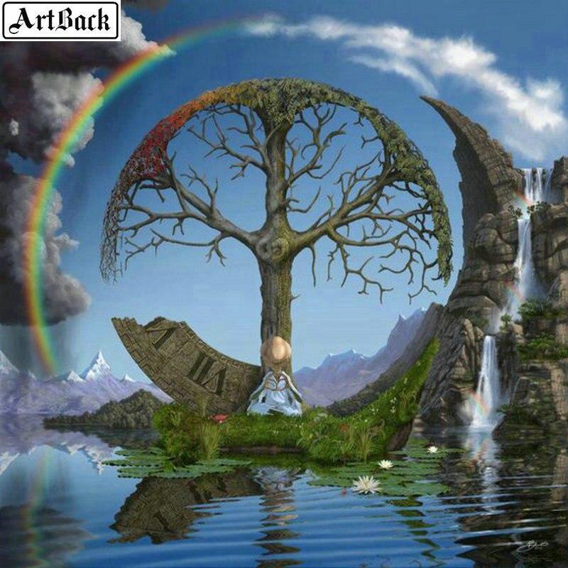 5d diy diamante pintura paisaje árbol arcoíris cuadrado completo diamante bordado costura arte 3d redondo mosaico pegatina