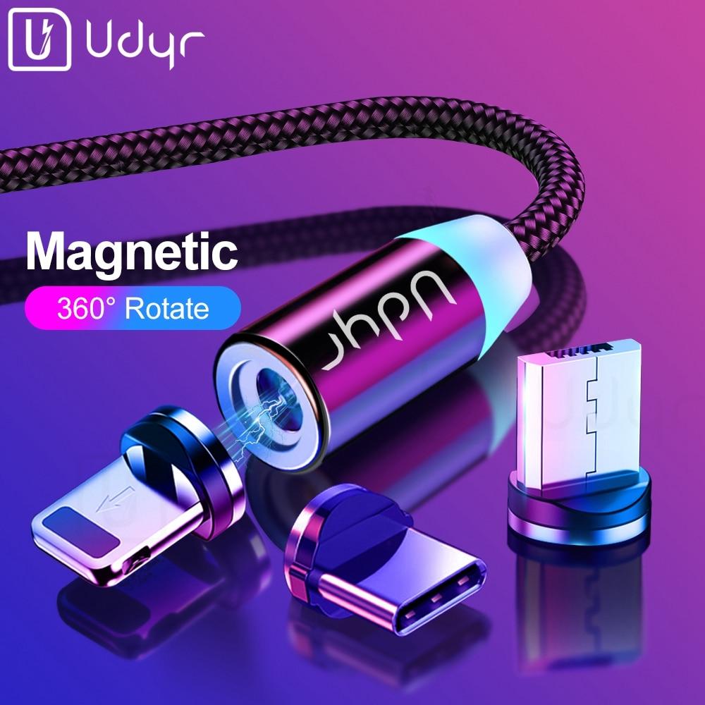 Cable Micro USB magnético Udyr 2m para iPhone Samsung Android Teléfono de carga rápida USB tipo C Cable magnético cargador Cable