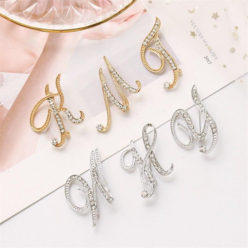 Novo metal cristal broche pino para homem e mulher inglês letra pinos palavra e broches terno camisa colar acessórios Broches    -