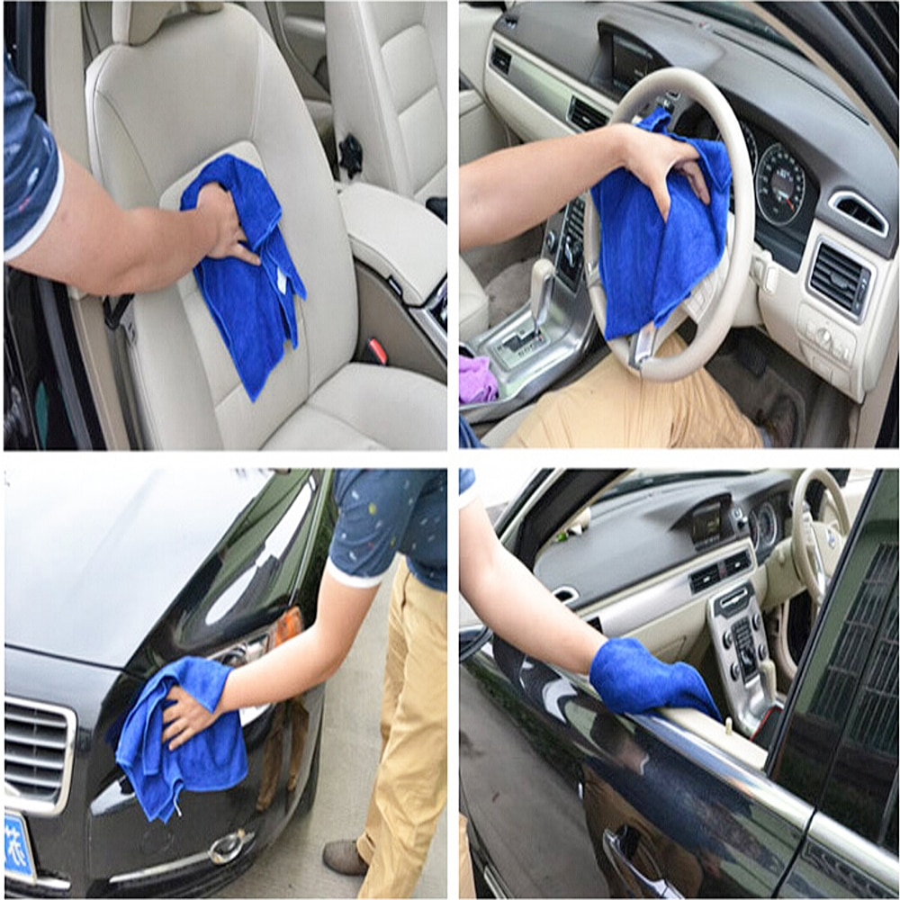 Купить с кэшбэком 1pcs Paint Cleaner Absorbent Towel Thicken Microfiber Suede Cloth Auto Car Motorcycle Cleaning Care Wash Beauty Supplies Sticker
