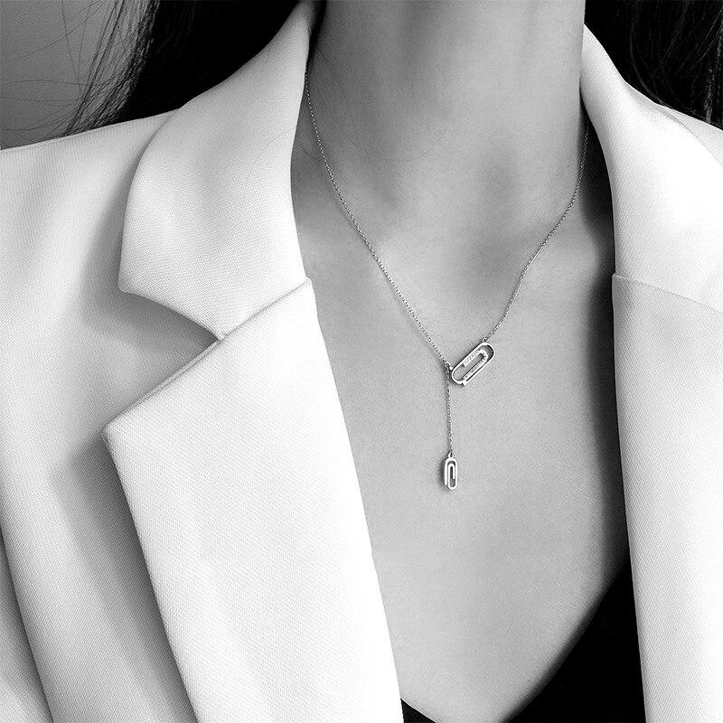 Mode nouveau AAA Zircon strass trombone collier 925 en argent Sterling pendentif colliers femmes beaux bijoux cadeau de fête