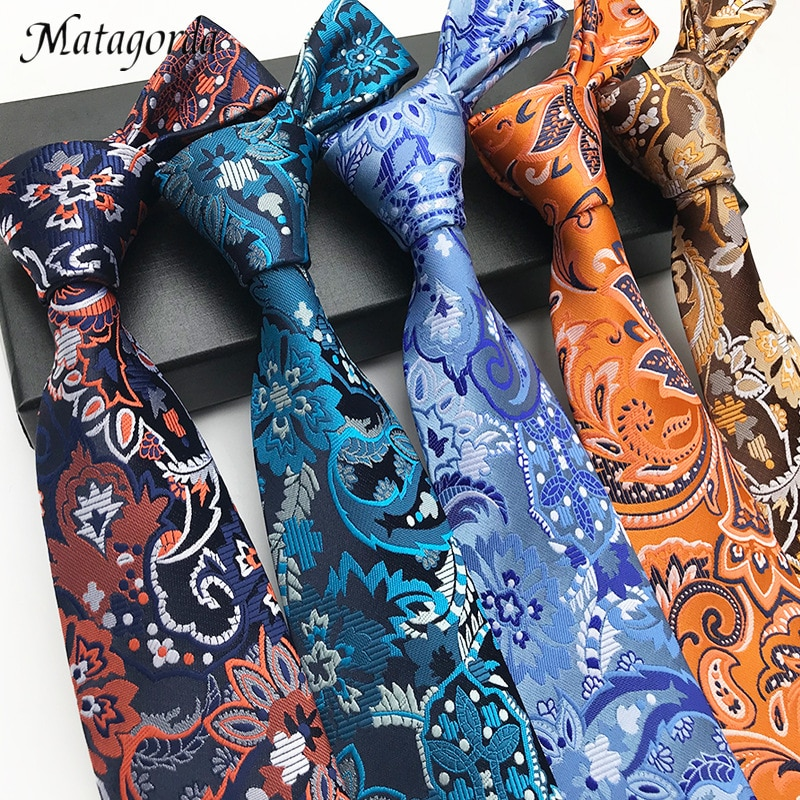 Matagorda 100% Silk Necktie Male Tie Casual Paisley Big Flower Floral Design Gravata Warm and Sunny Colour 8CM Man Neckwear недорого