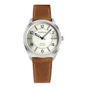 Часы Мужские автоматические механические с кожаным ремешком, 42 мм