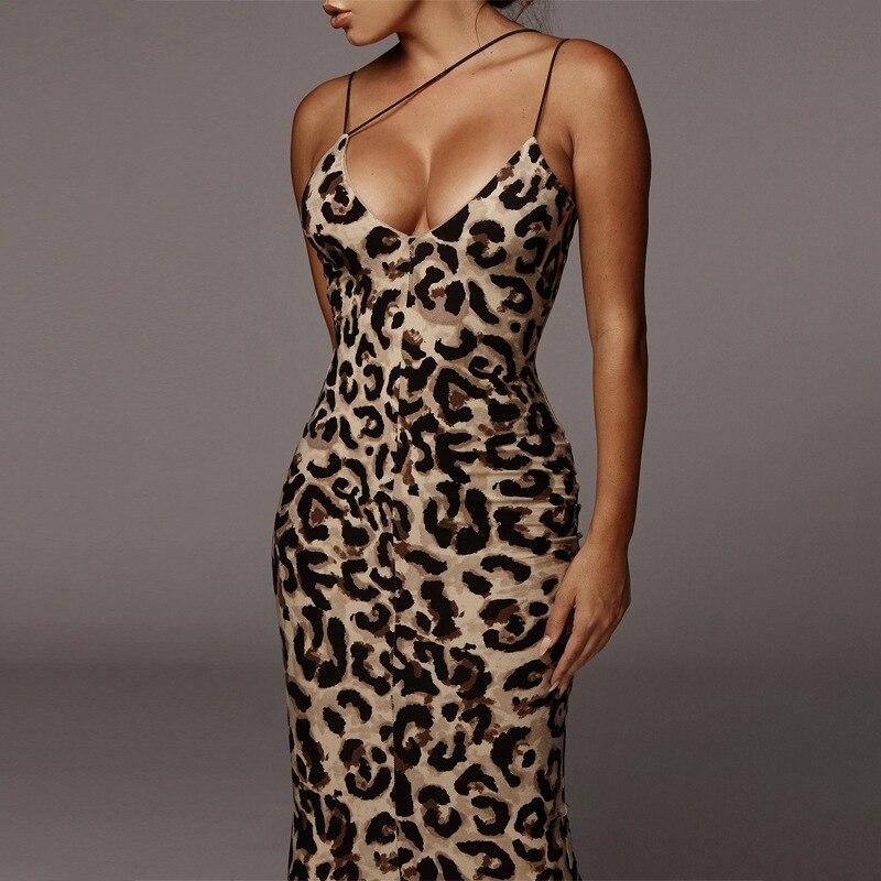 2020 verão mulheres vestidos pretos leopardo cobra impresso cinta de espaguete sexy bodycon midi longo festa clube vestido para feminino