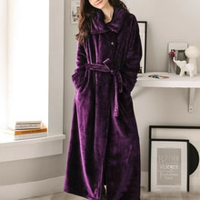 Women Long Warm Dobby Coral Fleece Bathrob Winter Thick Bath Robe Kimono Dressing Gown Female Sleepwear