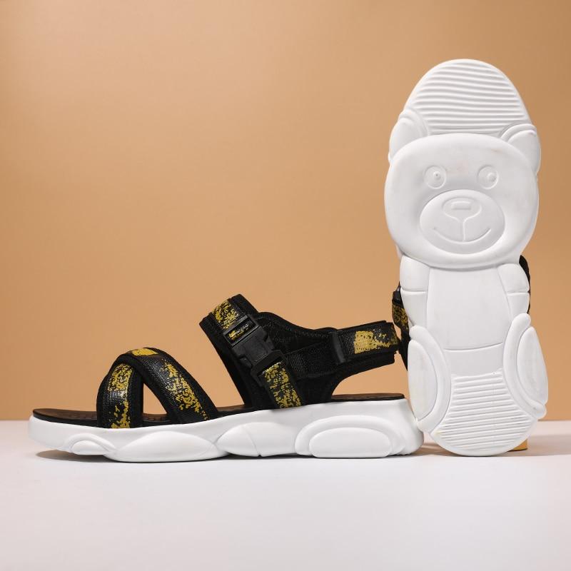 Sandale de plage verão respirável malha sapatos masculinos tenis masculino preto dos homens sandálias de praia oca sandália masculina