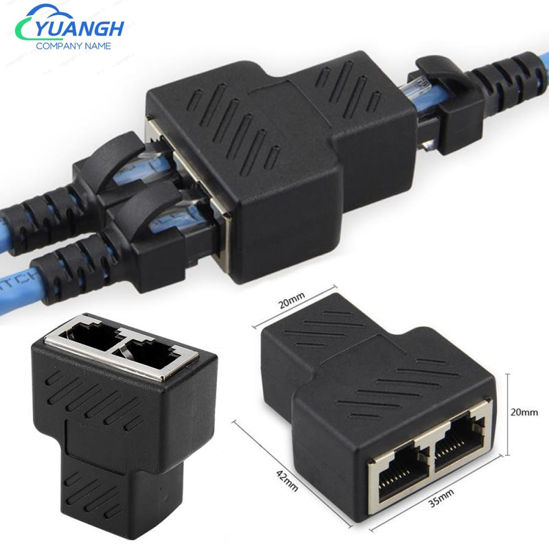 2 Pieces 1 To 2 Ways Ethernet RJ45 Female Cable Splitter Adapter Connector For Security IP Camera System poe camera simplified wiring connector splitter 2 in 1 network cabling connector three way rj45 head security camera install