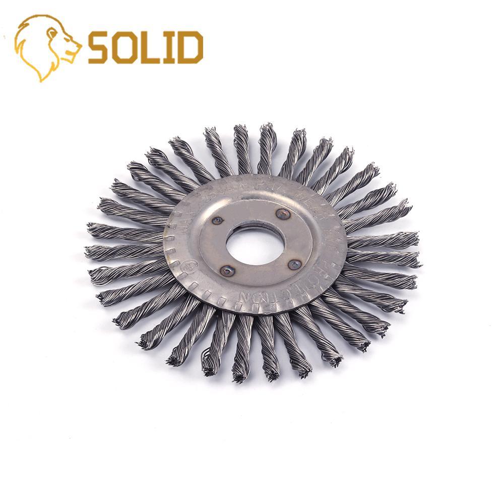 1 unidad 100/125/150mm cepillo de rueda de alambre de acero de nudo trenzado rueda de alambre de eliminación de óxido de tipo plano para amoladora angular
