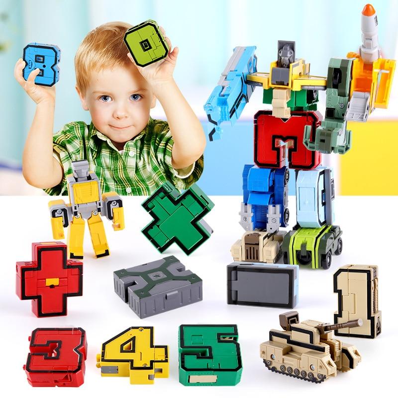 10pcs Number Transformer Robot Bricks  Building Block Model Creative Assembling Educational Action Figures Toys Gift for Kids