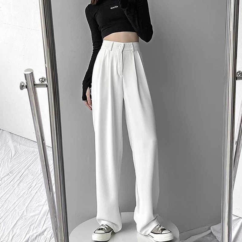 Non-Real Shot Wide-Leg Suit Pants Women's Small Loose Korean