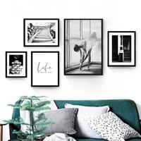 Toile murale de paysage noir et blanc pour fille  tableau dart de Ballet  imprime floral et affiche pour decor de maison